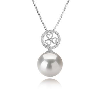 Klara Blanc 12-13mm AA+-qualité perles d'eau douce - Edison 925/1000 Argent-pendentif en perles