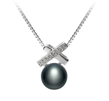 Klarita Noir 7-8mm AAA-qualité perles d'eau douce 925/1000 Argent-pendentif en perles