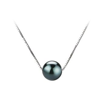 Christine Noir 7-8mm AAA-qualité Akoya du Japon 585/1000 Or Blanc-pendentif en perles