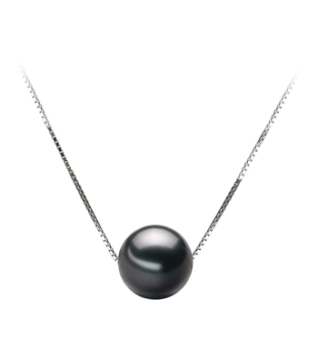 Kristine Noir 9-10mm AA-qualité de Tahiti 585/1000 Or Blanc-pendentif en perles