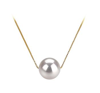 Christine Blanc 8-9mm AAA-qualité Akoya du Japon 585/1000 Or Jaune-pendentif en perles