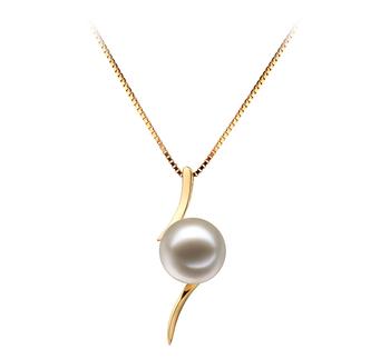 Abderrahim Blanc 6-7mm AAAA-qualité perles d'eau douce 585/1000 Or Jaune-pendentif en perles