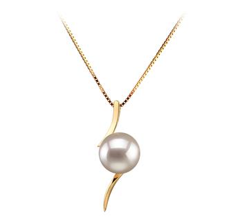 Lanella Blanc 6-7mm AA-qualité Akoya du Japon 585/1000 Or Jaune-pendentif en perles