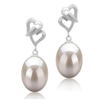 Laura Blanc 9-10mm AAA-qualité perles d'eau douce 925/1000 Argent-Boucles d'oreilles en perles