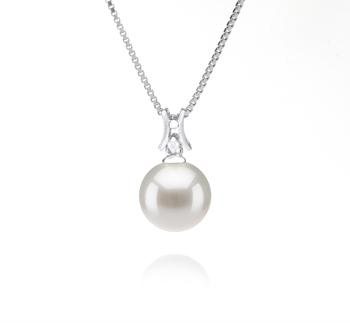 Lauren Blanc 9-10mm AAAA-qualité perles d'eau douce 925/1000 Argent-pendentif en perles