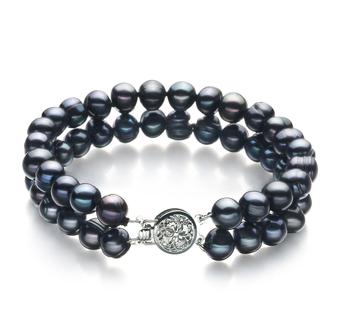 Lavinia Noir 6-7mm A-qualité perles d'eau douce 925/1000 Argent-Bracelet de perles