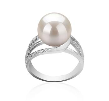 Layana Blanc 10-11mm AAAA-qualité perles d'eau douce 925/1000 Argent-Bague perles