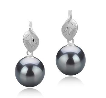 Feuille Noir 8-9mm AAAA-qualité perles d'eau douce 925/1000 Argent-Boucles d'oreilles en perles