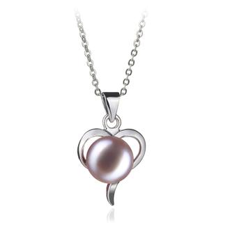 Leeza Lavande 9-10mm AA-qualité perles d'eau douce Blanc Bronze-pendentif en perles