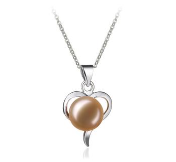 Leeza Rose 9-10mm AA-qualité perles d'eau douce Blanc Bronze-pendentif en perles