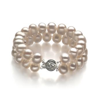 Leonora Blanc 8-9mm A-qualité perles d'eau douce -Bracelet de perles