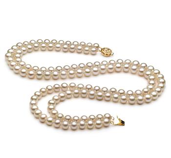 Liah Blanc 6-7mm AA-qualité perles d'eau douce Rempli D'or-Collier de perles