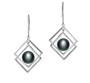 Lilian Noir 8-9mm AAA-qualité perles d'eau douce 925/1000 Argent-Boucles d'oreilles en perles