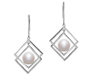 Lilian Blanc 8-9mm AAA-qualité perles d'eau douce 925/1000 Argent-Boucles d'oreilles en perles