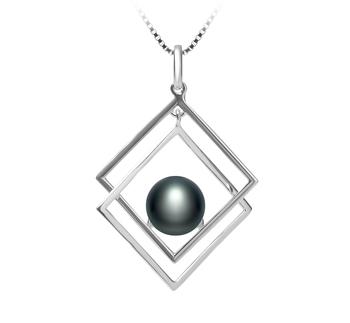 Lilian Noir 8-9mm AAA-qualité perles d'eau douce 925/1000 Argent-pendentif en perles