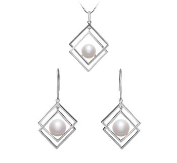 Lilian Blanc 8-9mm AAA-qualité perles d'eau douce 925/1000 Argent-un set en perles
