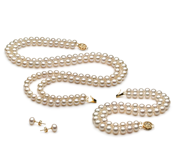 Liska Blanc 6-7mm AA-qualité perles d'eau douce Rempli D'or-un set en perles