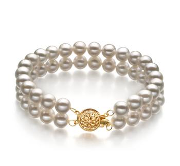 Lola Blanc 6-7mm AA-qualité perles d'eau douce Rempli D'or-Bracelet de perles