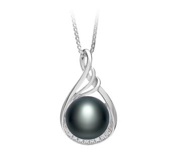 Lori Noir 10-11mm AAA-qualité perles d'eau douce 925/1000 Argent-pendentif en perles