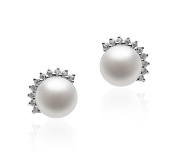 Louisa Blanc 7-8mm AA-qualité perles d'eau douce 925/1000 Argent-Boucles d'oreilles en perles