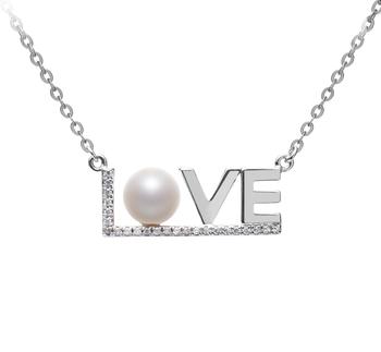 LOVE Blanc 6-7mm AAAA-qualité perles d'eau douce 925/1000 Argent-Collier de perles