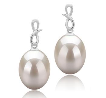 Lucille Blanc 9-10mm AAA-qualité perles d'eau douce 925/1000 Argent-Boucles d'oreilles en perles