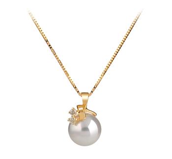 Luella Blanc 7-8mm AAA-qualité Akoya du Japon 585/1000 Or Jaune-pendentif en perles