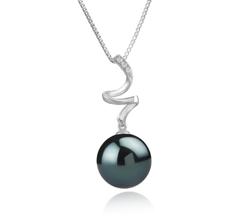 Lydia Noir 12-13mm AAA-qualité de Tahiti 925/1000 Argent-pendentif en perles