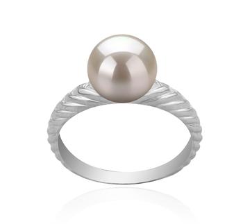 Mada Blanc 8-9mm AAAA-qualité perles d'eau douce 925/1000 Argent-Bague perles