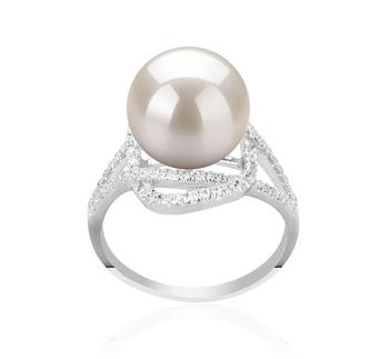Maddie Blanc 10-11mm AAAA-qualité perles d'eau douce 925/1000 Argent-Bague perles
