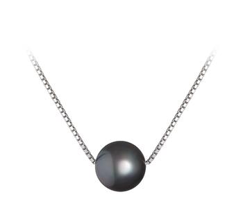 Madison Noir 8-9mm AA-qualité perles d'eau douce 925/1000 Argent-pendentif en perles