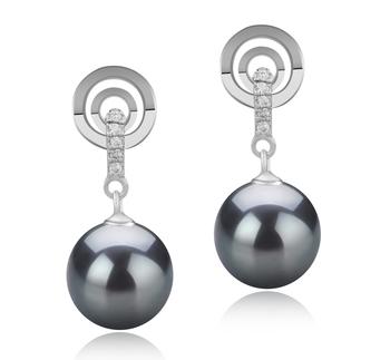 Madonna Noir 8-9mm AAAA-qualité perles d'eau douce 925/1000 Argent-Boucles d'oreilles en perles