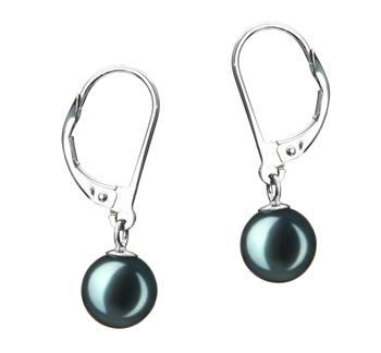 Marcella Noir 7-8mm AA-qualité Akoya du Japon-Boucles d'oreilles en perles