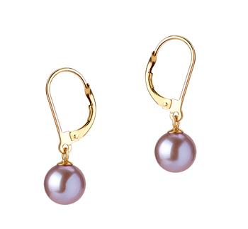 Marcella Lavande 7-8mm AAAA-qualité perles d'eau douce-Boucles d'oreilles en perles