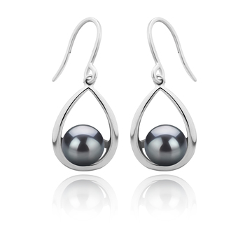 Marcia Noir 7-8mm AAAA-qualité perles d'eau douce 925/1000 Argent-Boucles d'oreilles en perles