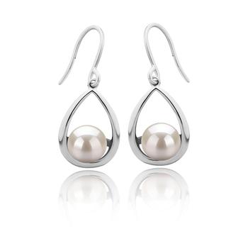 Marcia Blanc 7-8mm AAAA-qualité perles d'eau douce 925/1000 Argent-Boucles d'oreilles en perles
