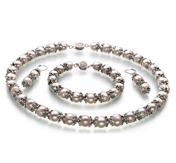 MarieAnt Blanc 8-9mm A-qualité perles d'eau douce 925/1000 Argent-un set en perles