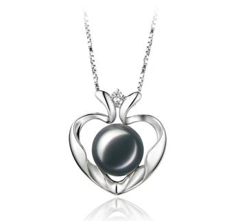 Coeur de Scoubidou Noir 9-10mm AA-qualité perles d'eau douce 925/1000 Argent-pendentif en perles