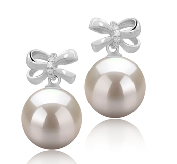 Marte Blanc 9-10mm AAAA-qualité perles d'eau douce 925/1000 Argent-Boucles d'oreilles en perles
