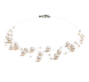 Marie Blanc 3-9mm A-qualité perles d'eau douce -Collier de perles