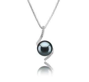 Mathilde Noir 9-10mm AAA-qualité de Tahiti 925/1000 Argent-pendentif en perles