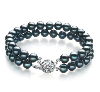 Mayra Noir 6-7mm AA-qualité Akoya du Japon -Bracelet de perles