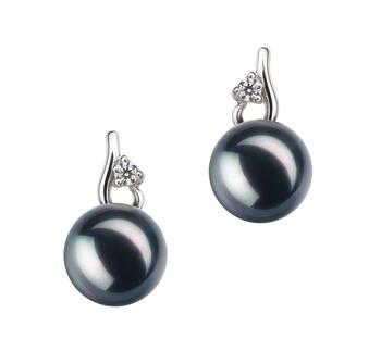 Melissa Noir 7-8mm AA-qualité Akoya du Japon 925/1000 Argent-Boucles d'oreilles en perles