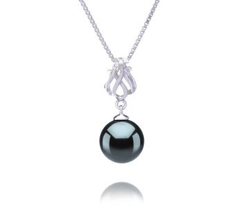 Merina Noir 9-10mm AAA-qualité de Tahiti 925/1000 Argent-pendentif en perles