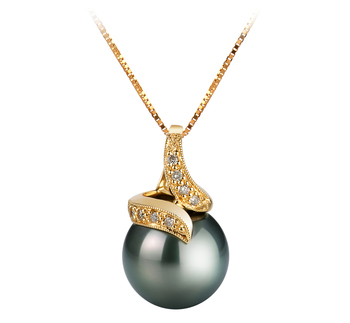 Mina Noir 12.5-13mm AAA-qualité de Tahiti 585/1000 Or Jaune-pendentif en perles
