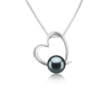 Miranda Noir 10-11mm AAAA-qualité perles d'eau douce 925/1000 Argent-pendentif en perles