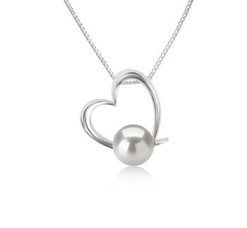Miranda Blanc 10-11mm AAAA-qualité perles d'eau douce 925/1000 Argent-pendentif en perles