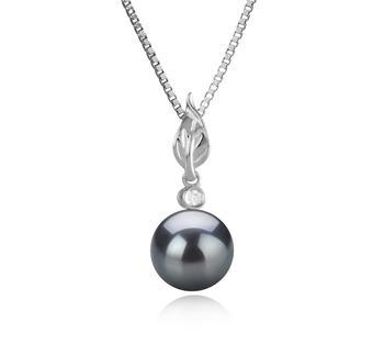 Miriah Noir 8-9mm AAAA-qualité perles d'eau douce 925/1000 Argent-pendentif en perles