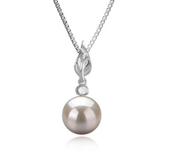 Miriah Blanc 8-9mm AAAA-qualité perles d'eau douce 925/1000 Argent-pendentif en perles
