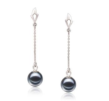 Misha Noir 6-7mm AAAA-qualité perles d'eau douce 585/1000 Or Blanc-Boucles d'oreilles en perles